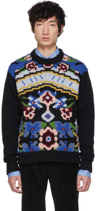 Prada Black Floral Crewneck Sweater
