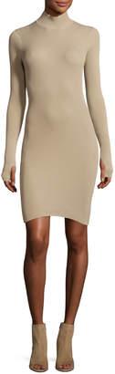 Yeezy Ribbed-Knit Mock-Neck Dress Sand
