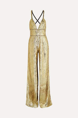 Dundas Crystal-embellished Sequined Tulle Jumpsuit - Gold