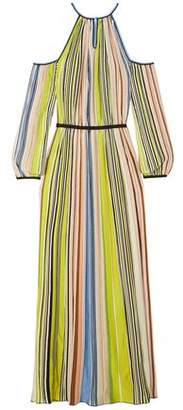 Missoni Cold-shoulder Striped Ribbed-knit Maxi Dress