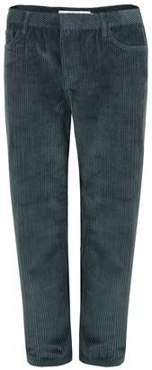 Topman Teal Cord Wide Leg Cropped Trousers