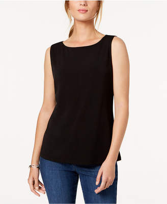 Charter Club Petite Sleeveless Boatneck Top, Created for Macy's