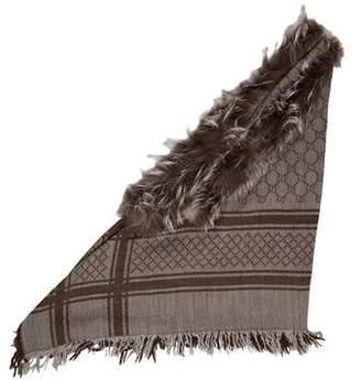 Gucci Monogram Survie Fox Fur Shawl
