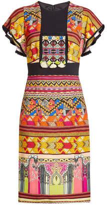 Etro Printed Dress with Tassels and Fringed Trims