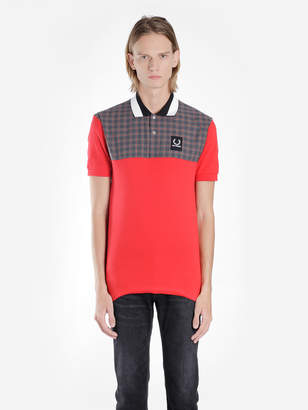 Raf Simons Fred Perry X FRED PERRY X MEN'S RED POLO SHIRT WITH CHECK INSERT