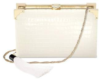 Aspinal of London Book Clutch In Deep Shine Ivory Small Croc