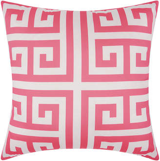 Nourison Mina Victory Greek Key Poly Hot Pink Outdoor Throw Pillow