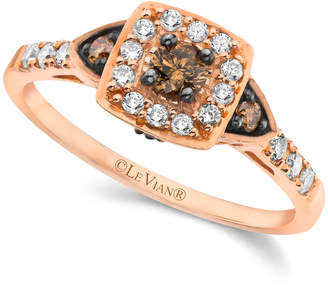 LeVian Chocolate by Petite Le Vian Chocolate and White Diamond Ring (3/8 ct. t.w.) in 14k Rose Gold