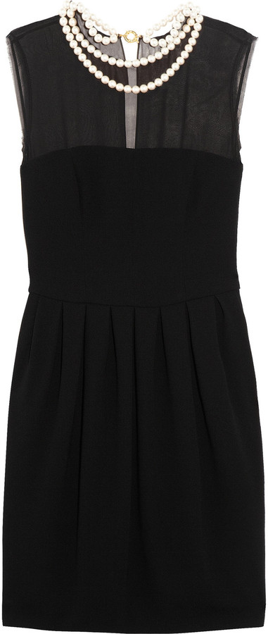 Moschino Cheap & Chic Moschino Cheap and Chic Faux pearl-embellished silk and crepe dress