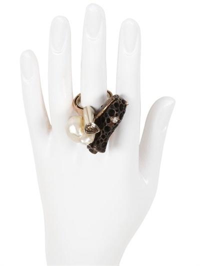 Alinari Stefano Kosmo Gold, Pearl And Diamond Ring