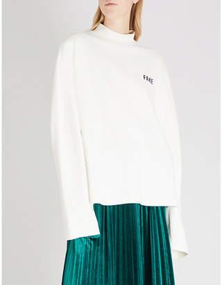 Mo&Co. Shh slogan-print cotton-blend sweatshirt