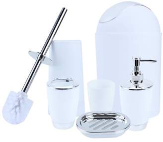 HURRISE 6-Piece Plastic Bathroom Accessory Set - Lotion Dispenser, Toothbrush Holder, Tumbler, Soap Dish, Toilet Brush, Trash Can