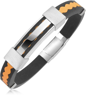 Forzieri Rubber and Stainless Steel Bracelet