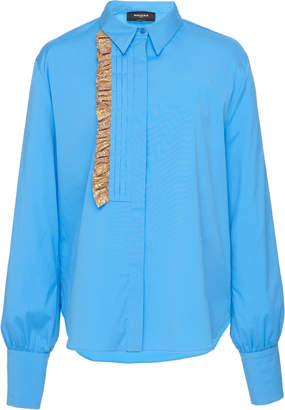 Rochas Orsolina Cotton-Blend Ruffle Shirt