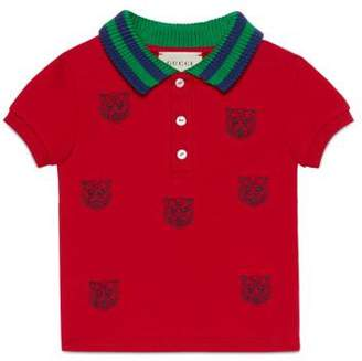 Gucci Baby polo with tiger heads embroidery