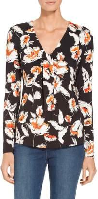 St. John Modern Floral Jersey V-Neck T-Shirt