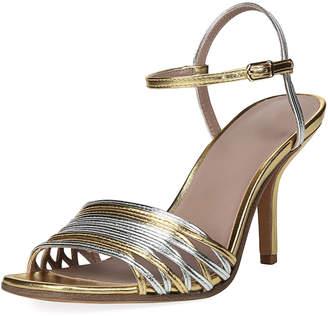 Diane von Furstenberg Federica Mixed Metallic Strappy Sandals