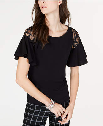 INC International Concepts I.N.C. Short-Sleeve Lace-Detail Ruffle Shirt, Created for Macy's