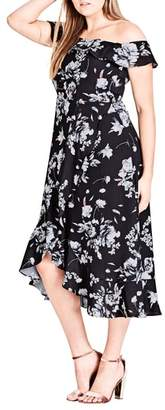 City Chic Flower Time Off the Shoulder Midi Dress