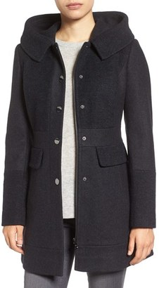 GUESS Wool Blend Hooded Coat $228 thestylecure.com