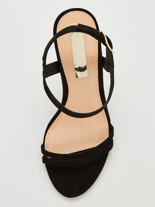 Office Wide Fit Hotcake Heeled Sandals - Black