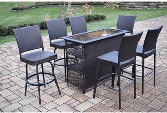 Darby Home Co Parishville 7 Piece Durable All Weather Resin Wicker Bar Set