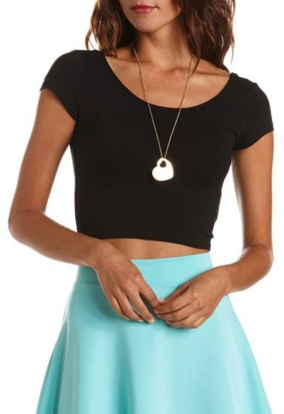 Charlotte Russe Cap-Sleeve Crop Top