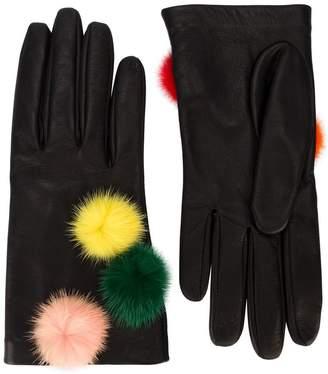 Fendi gloves with pompoms