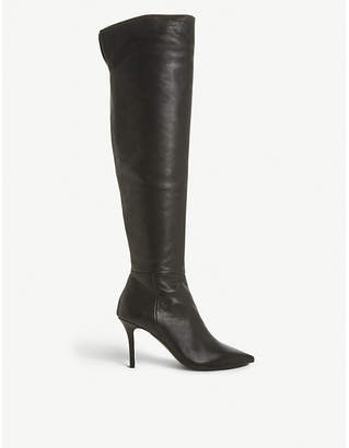 Dune Black Santamonica leather knee-high boots