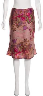Tara Jarmon Silk Floral Print Knee-Length Skirt