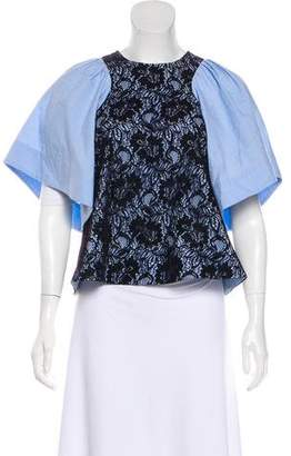 Rachel Comey Lace-Accented Short Sleeve Top