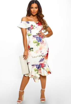 9e00a7cc90a33 Pink Boutique Barcelona Babe Ivory Multi Floral Print Bardot Bodycon Midi  Dress