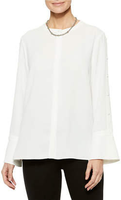Misook Crepe De Chine Long-Sleeve Blouse with Button Sleeve Detail