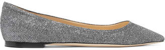 Jimmy Choo Romy Glittered Canvas Point-toe Flats - Anthracite