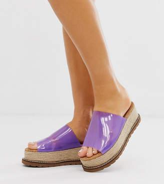 clear Asos Design ASOS DESIGN Wide Fit Jade espadrille mules in lilac