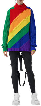 Burberry Rainbow Wool-Cashmere Turtleneck Sweater