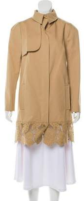Valentino Lace-Accented Knee-Length Coat