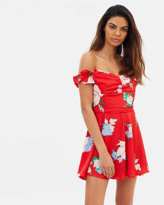 Miss Selfridge Shirred Sleeve Bardot Playsuit