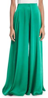 Rosetta Getty High-Waist Crepe Back Satin Palazzo Pants