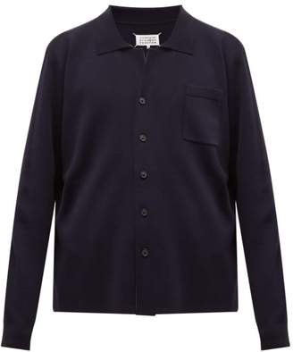 Maison Margiela Logo Stitch Wool Polo Shirt Cardigan - Mens - Navy