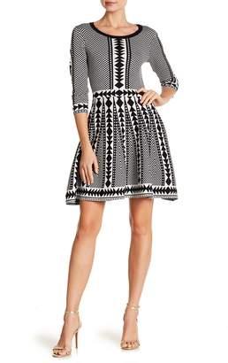 Nina Leonard 3/4 Sleeve Geometric Print Dress