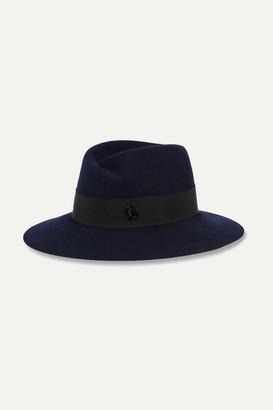 Maison Michel - Virginie Rabbit-felt Fedora - Navy $600 thestylecure.com