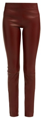 The Row Moto Mid Rise Leather Trousers - Womens - Burgundy