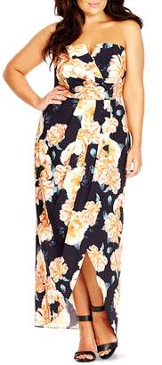 City Chic Tulip Time Floral Print Maxi Dress