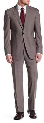 Hart Schaffner Marx Brown Pinstripe Two Button Notch Lapel Wool Blend Suit $795 thestylecure.com