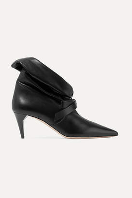 Miu Miu Bow-embellished Leather Ankle Boots - Black