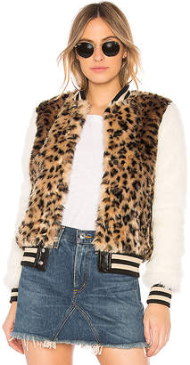 Mother The Faux Fur Baseball Snap Jacket