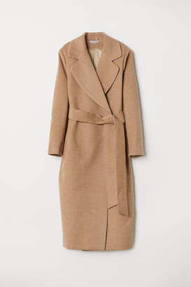 H&M H&M+ Coat with Tie Belt - Beige