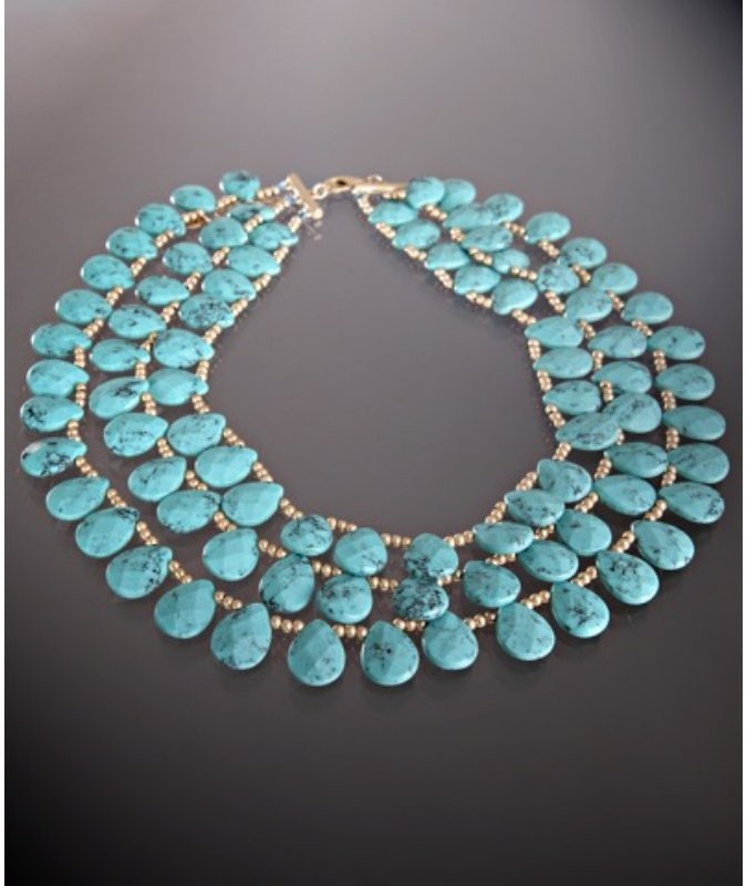Danielle Stevens turquoise and gold beaded multilayer necklace