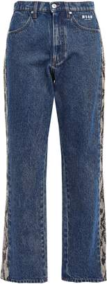 MSGM Snake Effect Leather-trimmed High-rise Straight-leg Jeans